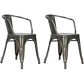 DHP Elise Metal Dining Chair Set Of Two Antique Gunmetal