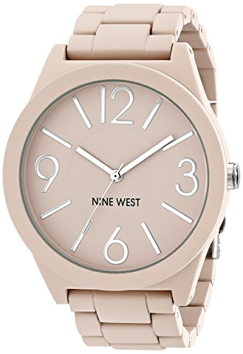 Nine West Womens NW1679PKPK Matte Pink Rubberized Bracelet Watch