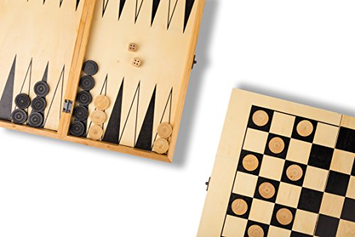 Ultimate Backgammon - 2-in-1 Travel Game Set - Checkers & Backgammon Wood Ultimate Board Game, Easy to Carry and Perfect Size, Comes with Dice & Pieces, For Kids and Adults Two Players, Comes with Complimentary eBook!
