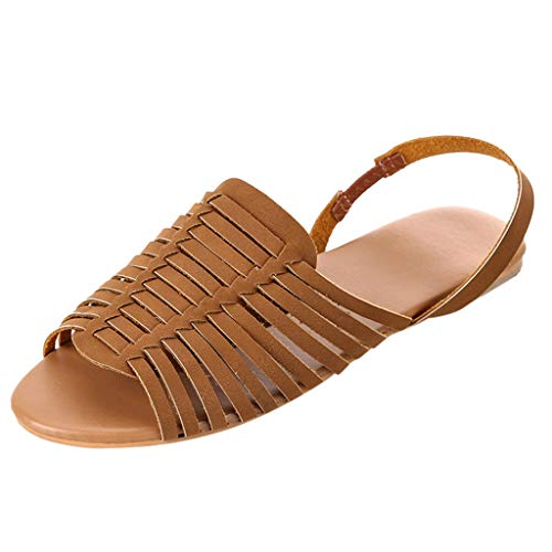(Ankle Strap Flat Sandals,SMALLE◕‿◕ Women's Elastic D'Orsay Flat Sandals Open Toe Ankle Strap Summer Beach Mules Shoes Brown)