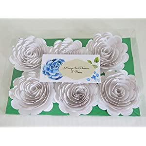 """Set of 6 White Paper Roses, Big 3"""" Blossoms, Wedding Flowers, Bridal Shower Decor, Baby Nursery Decor, Event Planning Floral Decorations 33"""