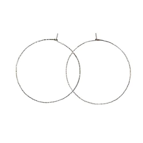 """6dffca320 Image Unavailable. Image not available for. Color: Thin Big 2 1/4""""  Textured Sterling Silver Hoop Earrings/Circle Earrings"""