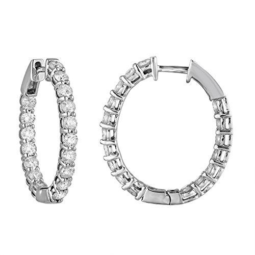 4 cttw 14K White Gold Diamond Inside Out Hoop (Inside Out Diamond Earrings)