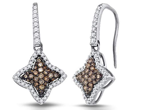 (1/2 Carat (ctw I2-I3) Champagne and White Star Diamond Dangle Earrings in 10K White Gold)