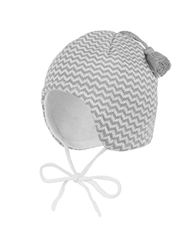maximo Baby-Jungen Mütze, Ausgenäht mit Bindband, Quaste, Mehrfarbig (Artikweiß/Hellgraumeliert 8801), 37 cm (Herstellergröße: 37)