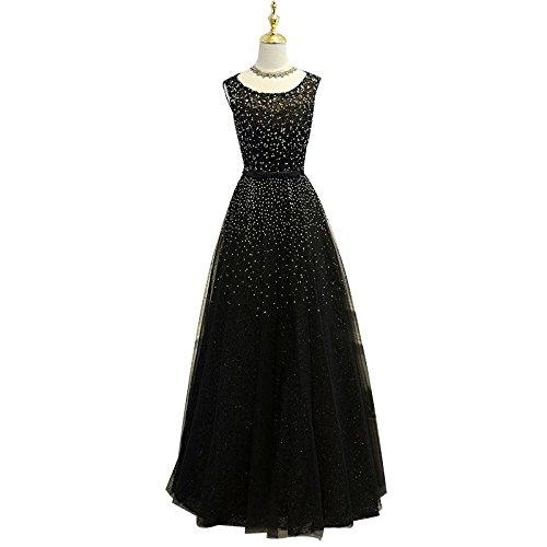 Sun Goddess Bijoux De Luxe Robe De Soirée Noire La Mariée Robe Sans Manches Élégant Banquet Parti Long Gown,Black,4 12