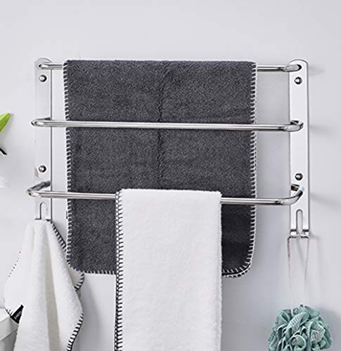 (XUEER Space Aluminum Towel Rack,Three Layer/One Body Hook up/Punch/Simple Modern,antirust Wall Mount,Hotel/Bathroom/Kitchen/Balcony)