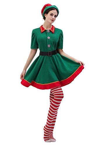 Christmas Elf Costume Womens Holiday Elf Dress 4-Piece Set Green ()
