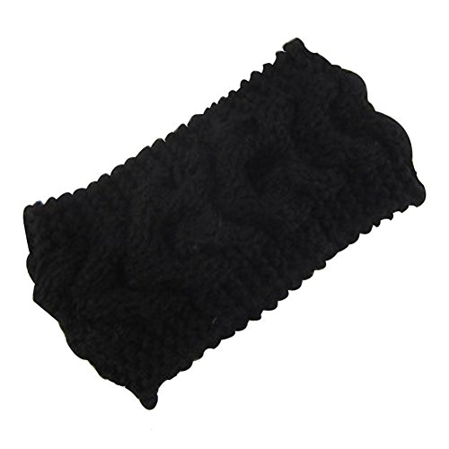 Pusheng Women's Versatile Wool Knit Crochet Twist Hair Band Headband Ear Warmer Black