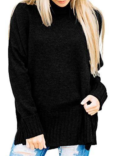 Dokotoo Womens Pullover Thick Winter Fall Warm Cozy Loose Oversized Chunky Long Sleeve Casual Turtle Neck Knitted Sweater Pullover Top Large