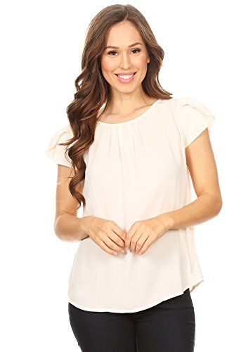 April Apparel Inc. Via Jay's Basic Casual Simple Short Puff Sleeve Relaxed Blouse Top (Large, Butter)