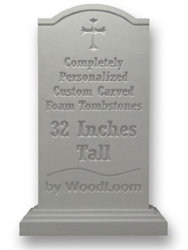 Personalized Foam Halloween Tombstone - Custom Carved by WoodLoom - Shoulder Top - 32 Inches Tall (Foam Tombstone)