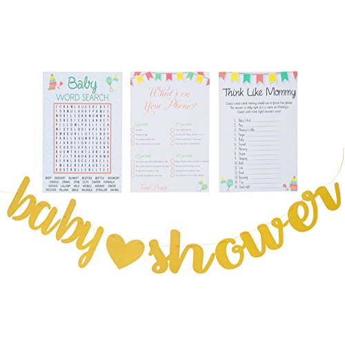 Planet Mango 3 Baby Shower Games | Baby Word Search 50 Sheets | What#039s ON Your Phone 50 Sheet | Think Like Mommy 50 Sheets  Gender Neutral Cute and Fun Games Includes Golden Banner