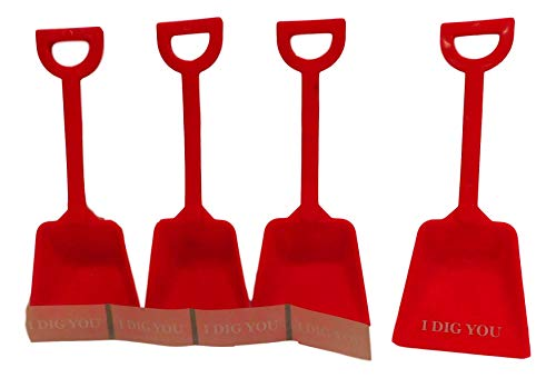 (Small Toy Plastic Shovels Red, 12 Pack, 7 Inches Tall, 12 I Dig You Stickers)