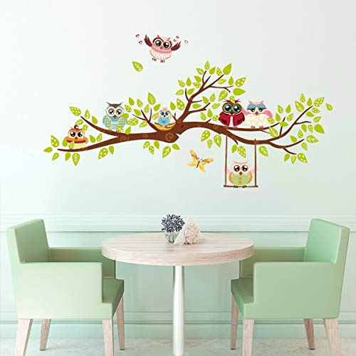 ufengke Owl Family Tree Wall Stickers Butterfly DIY Wall Decals Art Decor for Kids Bedroom Nursery Living Room