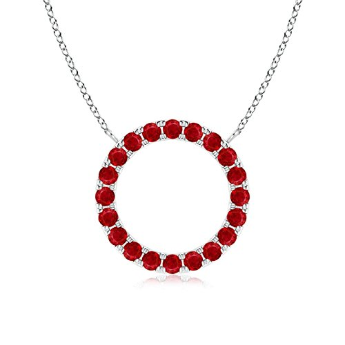 (July Birthstone - Eternity Round Ruby Open Circle Pendant Necklace for Women in 14K White Gold (1.5mm Ruby))