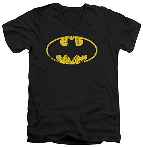 Distressed Logo Mens T-shirt - Batman Men's Classic Logo Distressed Slim Fit T-shirt Medium Black