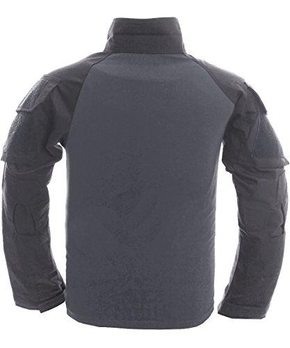 Manches Militaire shirt Hommes En Avec Poches À T Longues Gris Outdoor Pour Longue Coton Tacvasen Manche xBqwSCXaX