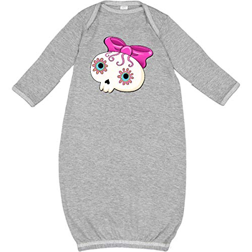 inktastic - Cute Sugar Skull with Bow for Day of Newborn Layette Heather -