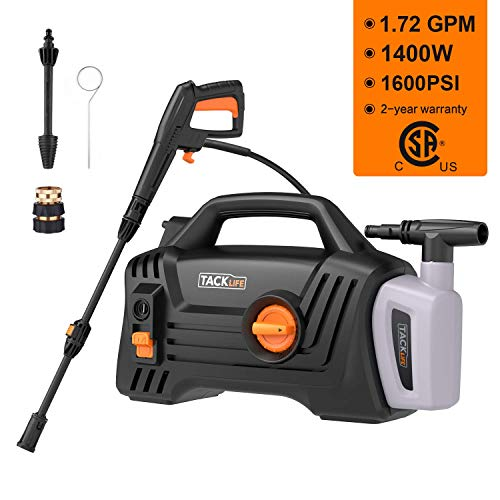 TACKLIFE Pressure Washer, 1600 PSI 1.72 GPM, Pure Copper Motor, 360 ° Easy to Remove Dirt, TSS Stop System, High Power Pressure Cleaner for Vehicle, Home, Garden, Barbecue