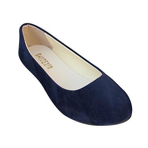 Planos Ocio Moda Zapatos Sintética Piel de Mujer Azul Básicas Bailarinas Negro y xwzqY0BF