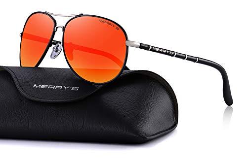 MERRY'S Polarized Sunglasses Men's Driver Glasses Bamboo Leg S8766 (Red Mirror, 62)