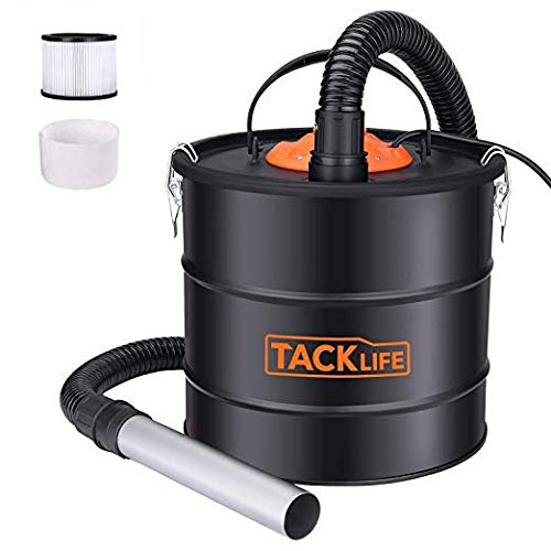 Tacklife Ash Vacuum 5 Gallon 800W Fireplace Vacuum with Blow fonction, 1.2M Metal Hose, 5M Power Cable, Ideal for Fireplaces, Stoves, Log Burners, Grills, BBQ's, Fire Pits-PVC03A (Hot Ash Vacuum)