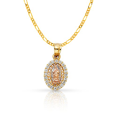 Ioka Jewelry - 14K Yellow Gold Religious Our Lady of Guadalupe Cubic Zirconia CZ Charm Pendant with 1.6mm Figaro 3+1 Chain Necklace - - Chain Yellow Figaro Gold 13mm