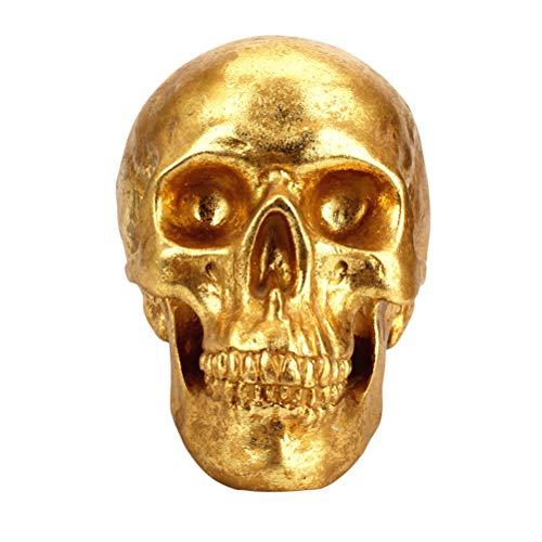 (BESTOYARD Human Head Golden Bone Resin Skull Crafts Money Boxes Piggy Bank Halloween Modern European Home Decoration)