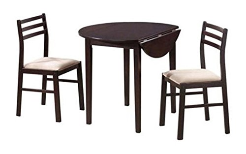 Monarch Specialties 3-Piece Dining Set with 36-Inch Diameter Drop Leaf Table, Cappuccino