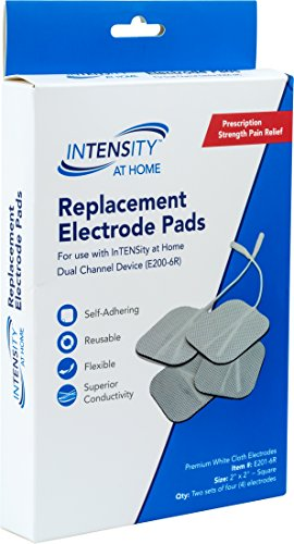 InTENSity-At-Home-E201-6R-Replacement-Electrode-Gel-Pads-White-Comfortable-Flexible-Multiple-Use-Pre-Gelled-Self-Adhesive-TENS-Unit-Electrode-Pads