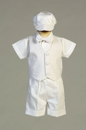 Swea Pea & Lilli Poly Cotton Christening Short Set with Basket Weave Vest and Hat,White,18-24 Month (23-27 lbs)