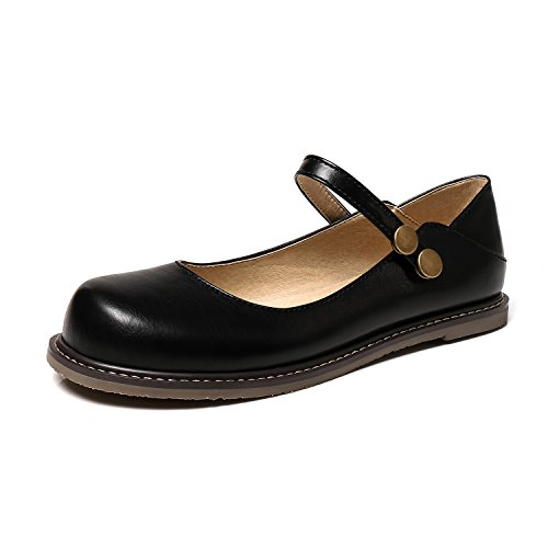 Odetina Women's Casual Faux Leather Mary Jane Shoes Flats (7 B(M) US, Black 2) (Jane Womens Mary Black)