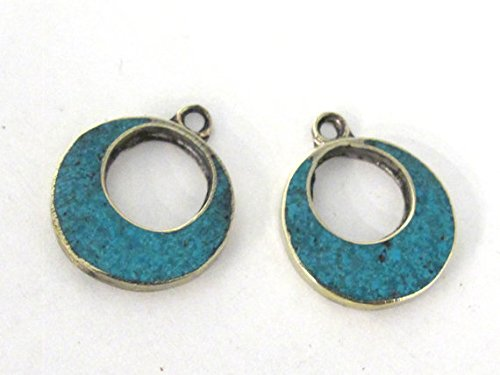 2 pieces - Tibetan silver donut disc shape charm pendants with turquoise inlay - PM509A