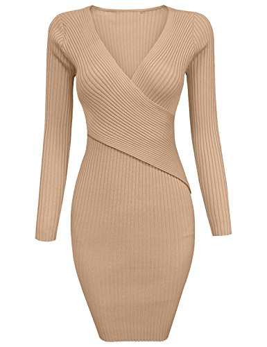 Grapent Women's Apricot Long Sleeve Crisscross V Neck Ribbed Short Bodycon Sweater Dress XL (US 16-18)