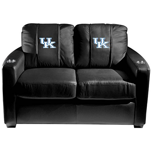 XZipit College Silver Loveseat with Kentucky Wildcats Logo Panel, Black
