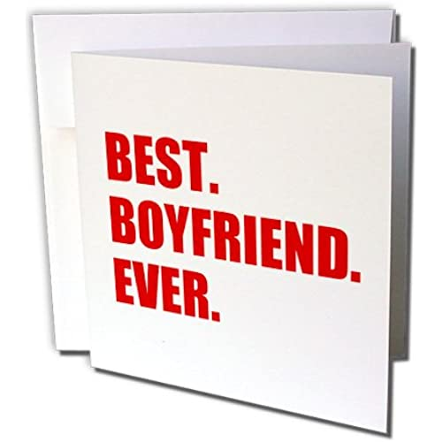 InspirationzStore Typography - Red Best Boyfriend Ever text anniversary valentines day gift for him - Greeting Sales