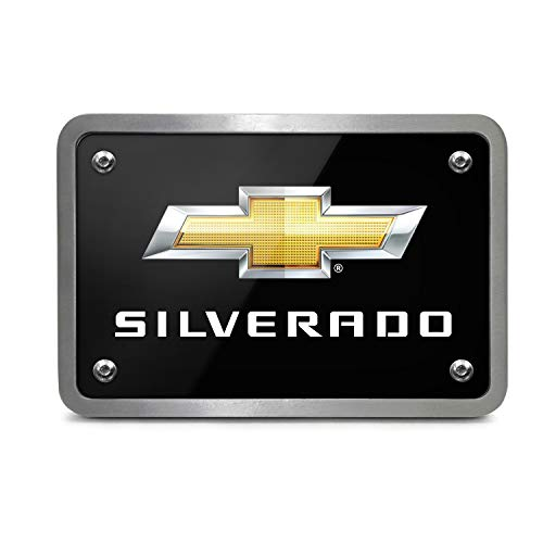 Covers Silverado Hitch Chevrolet - iPick Image - Black Graphic Plate Billet Aluminum 2