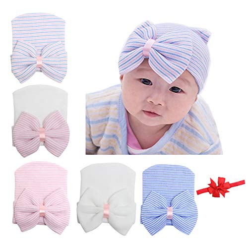 DRESHOW BQUBO 5 Pieces Baby Turban Hats Turban Bun Knot Baby Infant Beanie Baby Girl Soft Cute Toddler Cap