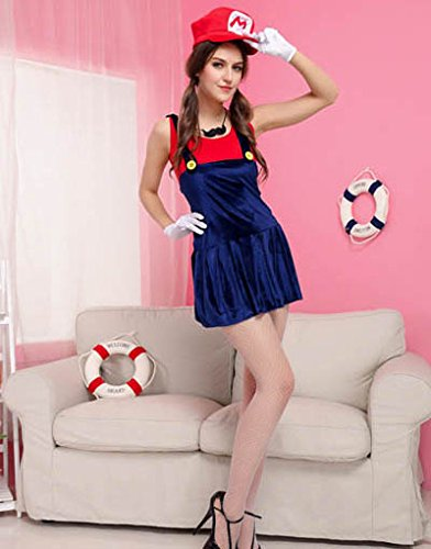 Sexy Cute Mario Halloween Costume Womens Adult Nintendo (Mario Brothers Bowser Halloween Costume)