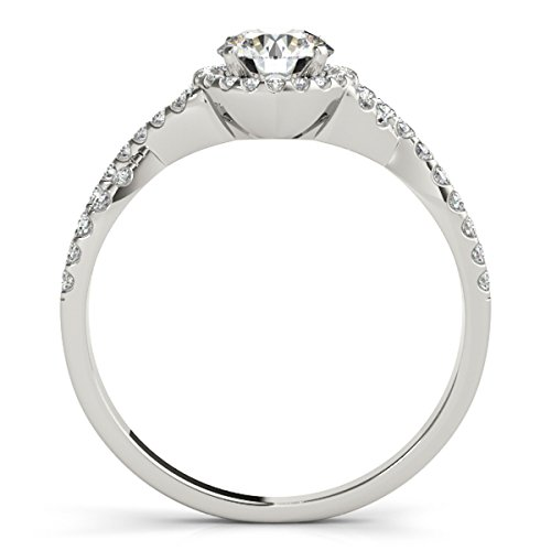0.50 Carat Halo Diamond Engagement Ring 14K Solid White Gold