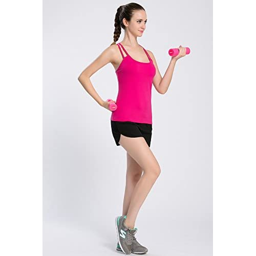 93ad86f1d5 30%OFF Campeak Women s Solid Strap Cami with Built in Shelf Bra Workout  Sport Camisole