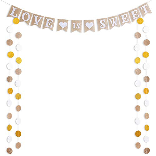 LOVE IS SWEET Banner Burlap Flag & 50 Circle Dots Garland for Wedding Decorations Linen Natural fiber Vintage Rustic Bunting Signs for Bride Shower Bachelorette Engagement Wedding Party Supplies by ALOHA
