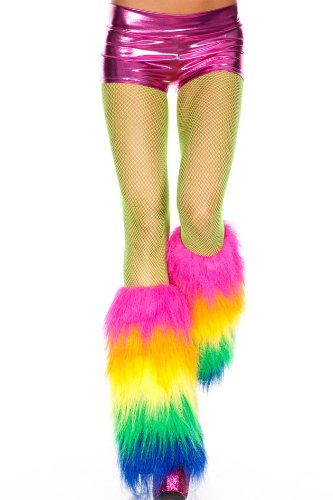 Music Legs Women's Furry Leg Warmers, Rainbow Multi, One ...