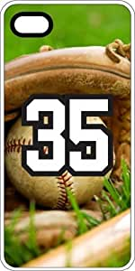 Baseball Sports Fan Player Number 35 White Rubber Decorative iPhone 5/5s Case