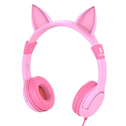 iClever BoostCare Kids Headphones, Wired Over Ear Headphones with Cat Ears, 85dB Volume Limited, Food Grade Silicone, 3.5mm Jack (HS01), Pink (Jack In The Box Costume Head)