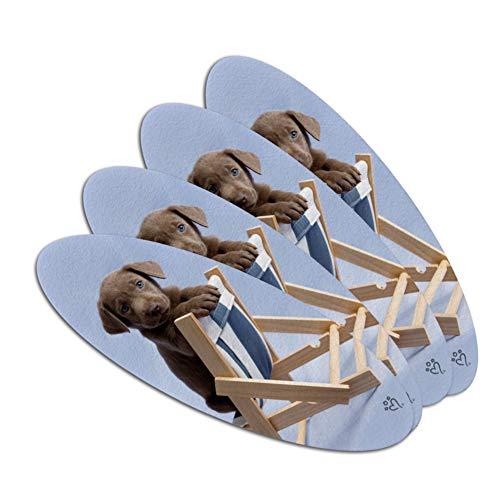 Lab Labrador Puppy Dog in Beach Lounger Chair Double-Sided Oval Nail File Emery Board Set 4 Pack
