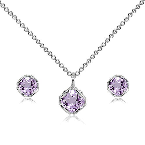 (Sterling Silver Amethyst 6mm Round Solitaire Stud Earrings & Pendant Necklace Set)