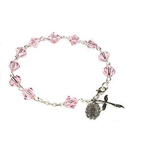 Womens Rosary Bracelet made with Light Rose Pink Swarovski Crystal Elements