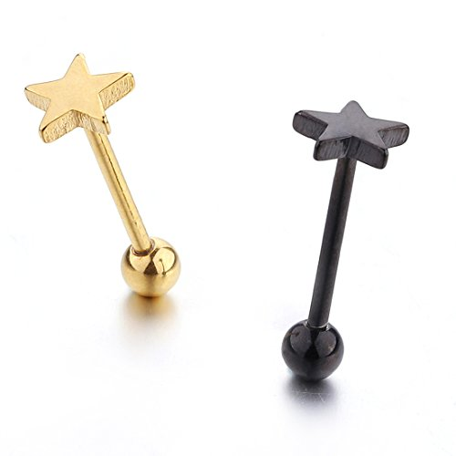 2PCS 14G Stainless Steel Straight Barbell Tongue Rings Bars Piercing For Women(star ()